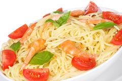 Pasta with shrimps and tomato Royalty Free Stock Image