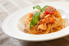 Pasta with shrimps and tomato sauce Royalty Free Stock Photo