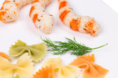 Pasta with shrimps. Royalty Free Stock Image