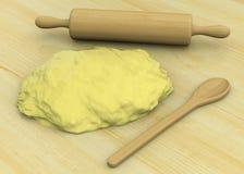 Pasta, sked och kavel - 3D Royaltyfri Illustrationer