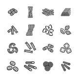 Pasta skriver symbolsuppsättningen Vektor EPS 10 Arkivfoto