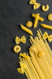 Pasta on a slate background Stock Images