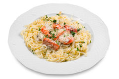 Pasta with slice of salmon fish Royalty Free Stock Photography