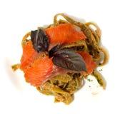 Pasta smoke salmon with thai souce. Royalty Free Stock Photography