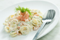 Pasta with smoked salmon Royalty Free Stock Images