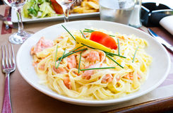 Pasta and smoked salmon Royalty Free Stock Images