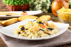 Pasta with smoked salmon and caviar Royalty Free Stock Photography