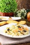 Pasta with smoked salmon and caviar Stock Photos