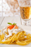Pasta with smoked salmon and cream sauce Royalty Free Stock Photos