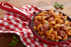 Pasta with smoked sausage Royalty Free Stock Image