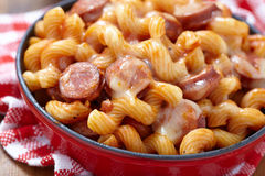 Pasta with smoked sausage Royalty Free Stock Images