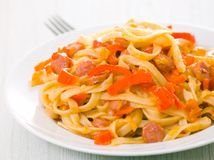 Pasta with smoked sausage and vegetables Royalty Free Stock Photography