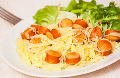 Pasta with smoked sausage and vegetables Stock Images