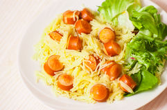 Pasta with smoked sausage and vegetables Royalty Free Stock Image