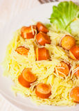 Pasta with smoked sausage and vegetables Royalty Free Stock Photos