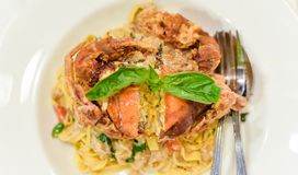 Pasta soft shell crab in black pepper, Focus inside soft crab Royalty Free Stock Images