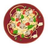 Pasta som sorteras med spagetti Vektorillustration f?r menyn stock illustrationer