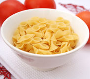 Pasta. Some italian uncooked pasta in a bowl Stock Photos
