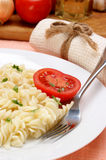 Pasta with some parsley and organic tomato Royalty Free Stock Image