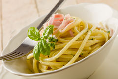 Pasta with sour cream and ham Royalty Free Stock Photo