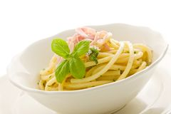 Pasta with sour cream and ham Isolated Stock Photo