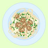 Pasta with spagetti, meatballs and herbs, vector illustration vector illustration