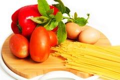 Pasta spaghetti. Pasta and spaghetti on a white background Stock Photography