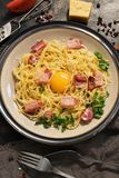 Pasta spaghetti alla carbonara close-up with ham, cheese and raw egg on a dark background. Top view royalty free stock photos