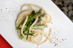 Pasta Spaghetti with asparagus Stock Images