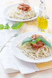 Pasta spaghetti with bolognese beef tomato sauce basil and parme Royalty Free Stock Photos