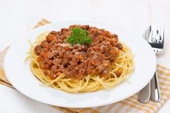 Pasta - Spaghetti Bolognese On A White Plate Stock Photo
