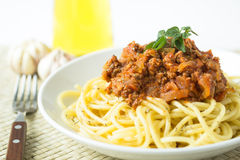 Pasta spaghetti bolognese with tomato and meat sauce Stock Photo