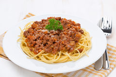 Pasta - spaghetti bolognese on a white plate Stock Photo