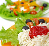 Pasta spaghetti with cherry tomato Stock Photos