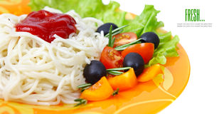 Pasta spaghetti with cherry tomato Stock Images