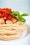 Pasta spaghetti, chicken, sweet and sour sauce Royalty Free Stock Image