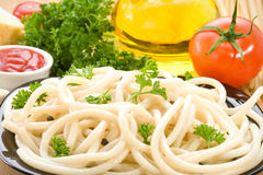 Pasta spaghetti and food ingredient Stock Photography