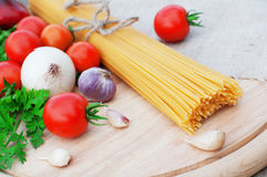 Pasta spaghetti and fresh vegetables Stock Image