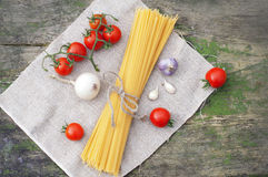 Pasta spaghetti with fresh vegetables Stock Image