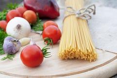 Pasta spaghetti and fresh vegetables Royalty Free Stock Photo