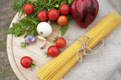 Pasta spaghetti with ingredients Royalty Free Stock Photo