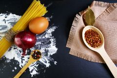 Pasta spaghetti, italian foods concept and menu design, spices on wooden spoons, onion bay leaf, raw eggs and flour on a shale boa royalty free stock photography