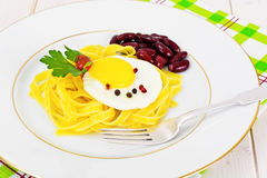 Pasta Spaghetti Noodle with Egg Royalty Free Stock Photo