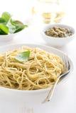 Pasta spaghetti with pesto, close-up Stock Photos