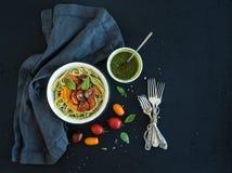 Pasta spaghetti with pesto sauce, basil, slow Stock Photography