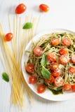 Pasta spaghetti with pesto sauce Royalty Free Stock Image