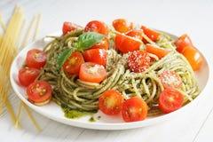 Pasta spaghetti with pesto sauce Royalty Free Stock Images