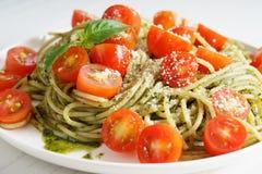 Pasta spaghetti with pesto sauce Stock Photography