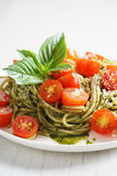 Pasta spaghetti with pesto sauce Royalty Free Stock Image