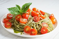 Pasta spaghetti with pesto sauce Stock Photography